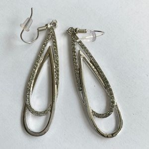 Rhinestone Double Teardrop Earrings